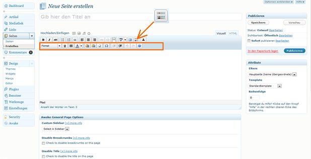 Wordpress Editor für Ihre Texte