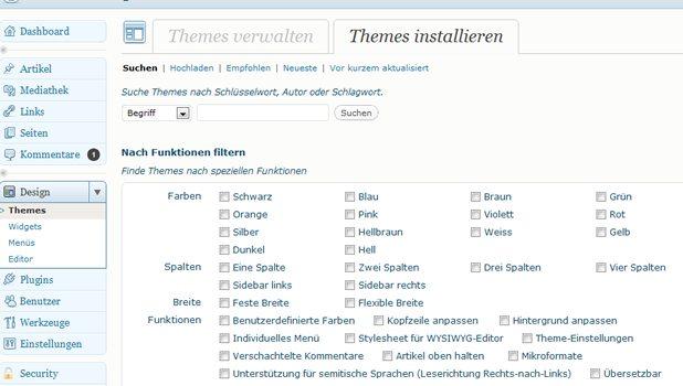 Wordpress Design / Theme Auswahl